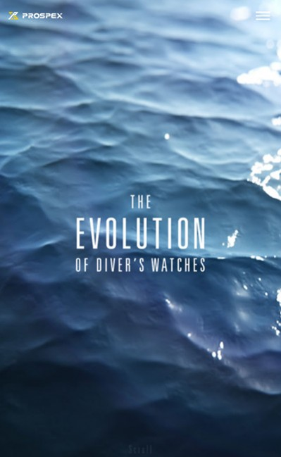 The Evolution of Diver's WatchesのレスポンシブWebデザイン